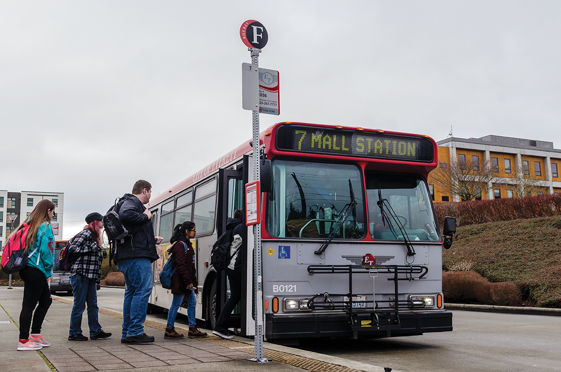 EvCC students demonstrate a sustainable practice by making use of the public transit system.