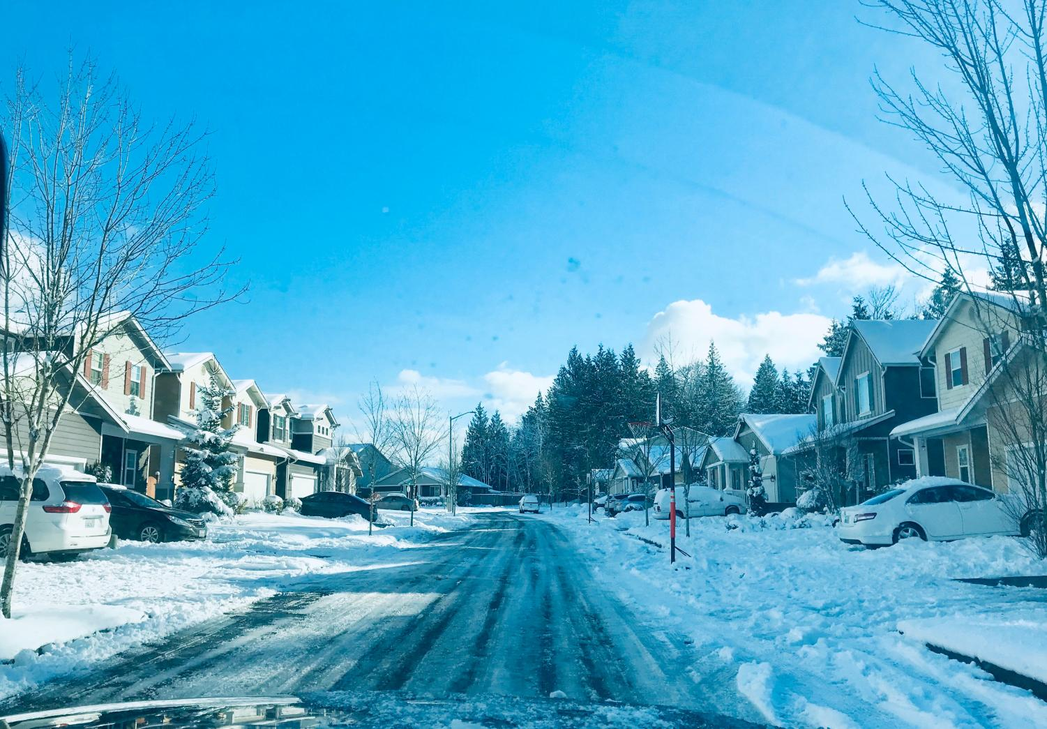 Freezing snow on back streets in Tulalip, WA.