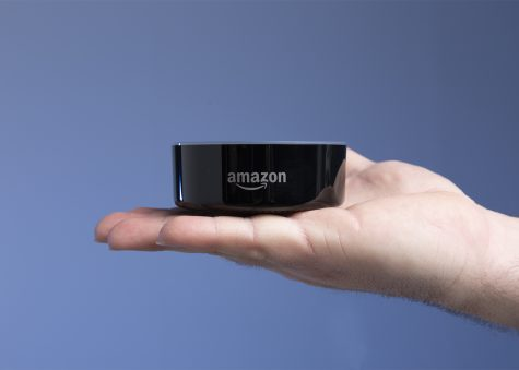 "Shown: An Amazon Echo device, part of a pilot program on campus. ""The goal is to provide these devices in  areas to to make it highly accessible and engaging for students,"" said William Frankhouser, IT lead web developer for EvCC."