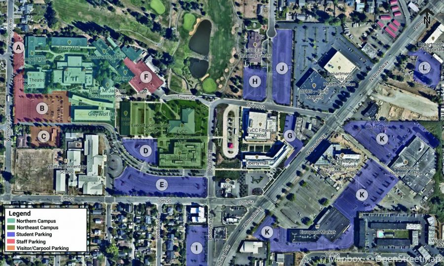 An overview of the parking lots available to EvCC students and staff.