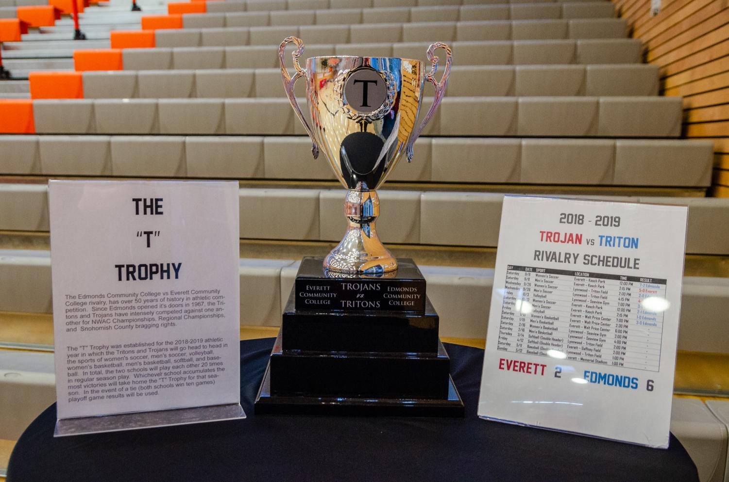 The T Trophy is displayed at the Walt Price Fitness Center during the Trojans Men and Women Home Basketball games on January 19, 2019.