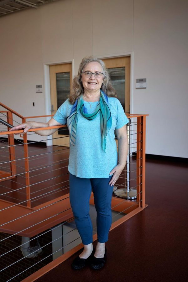 Beverly Anderson, outside her office, retires after 21 years of teaching Yoga at EvCC.