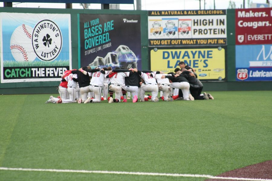 The+Trojan+baseball+team+comes+together+in+a+huddle+before+a+regular+season+double+header+played+at+Funko+Field.+Despite+winning+an+NWAC+North+%0ADivision+Title+for+a+third+consecutive+season+and+making+a+third+appearance+to+a+final+in+the+last+four+years%2C+the+Trojans+couldn%E2%80%99t+overcome+Lower+Columbia+in+the+NWAC+Baseball+Championships%2C+finishing+as+runners-up+in+the+tournament.+