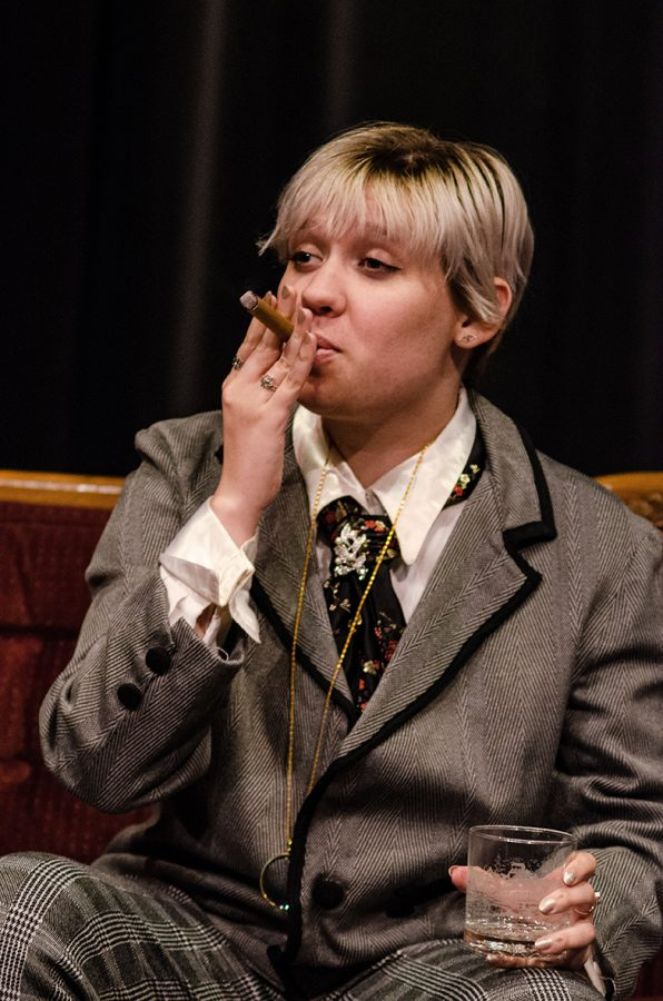 Cast member, Grace Webb, in character as Mr. Dumby.