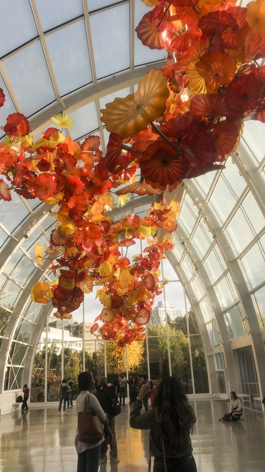 The Chihuly Garden and Glass exhibit located in the Seattle Center. There will be winter festivities held here every Sunday leading up to Dec. 25.