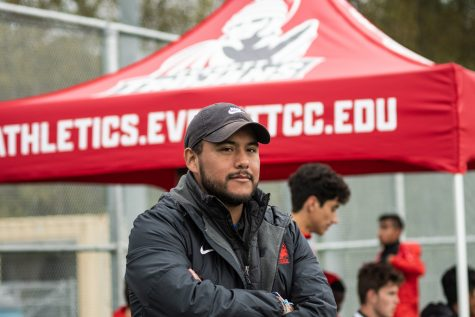 Erik Cruz, EvCC's winningest soccer coach, at Kasch Park for a home game on Wednesday Oct. 16, defeating Edmonds CC 2-1.