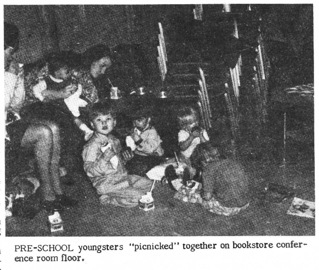 Pre-schoolers were also invited to the 1970 Christmas party, where mothers watched over them while they picnicked and enjoyed the festivities.