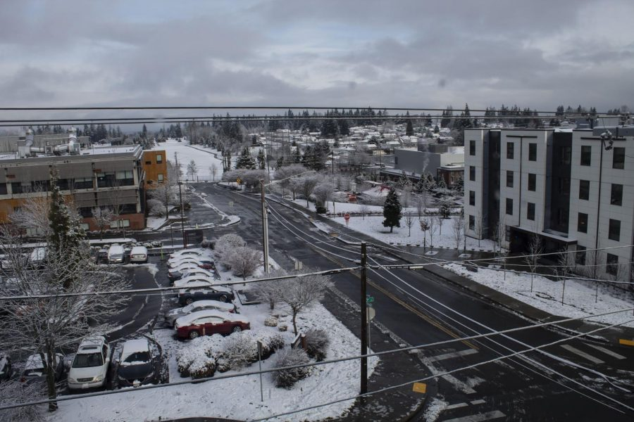 A view of a snow-covered campus taken in the Mountain View dorms.