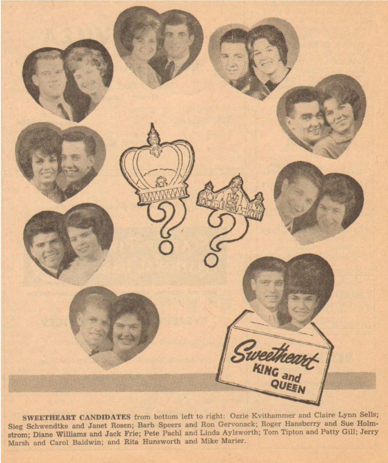Candidates for the Sweetheart Dance King and Queen of (EvCC) in February of 1963.