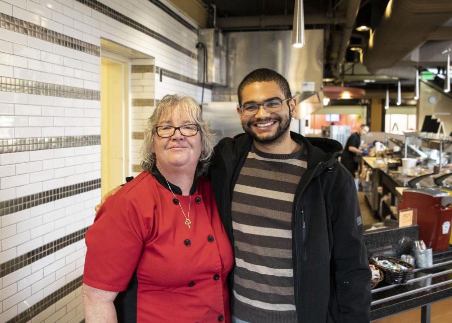 Nabbit app developer Emmanuel Harley (right) and Parks Cafe caterer Stacy Kloster (left) pose in Parks Café on Jan. 9, 2020.