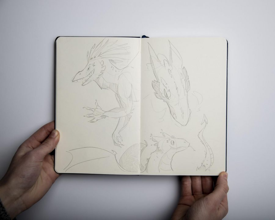Sketches+of+some+dragons+done+in+pencil+in+a+notebook+held+by+the+artist%2C+Gweneth+Henrie.