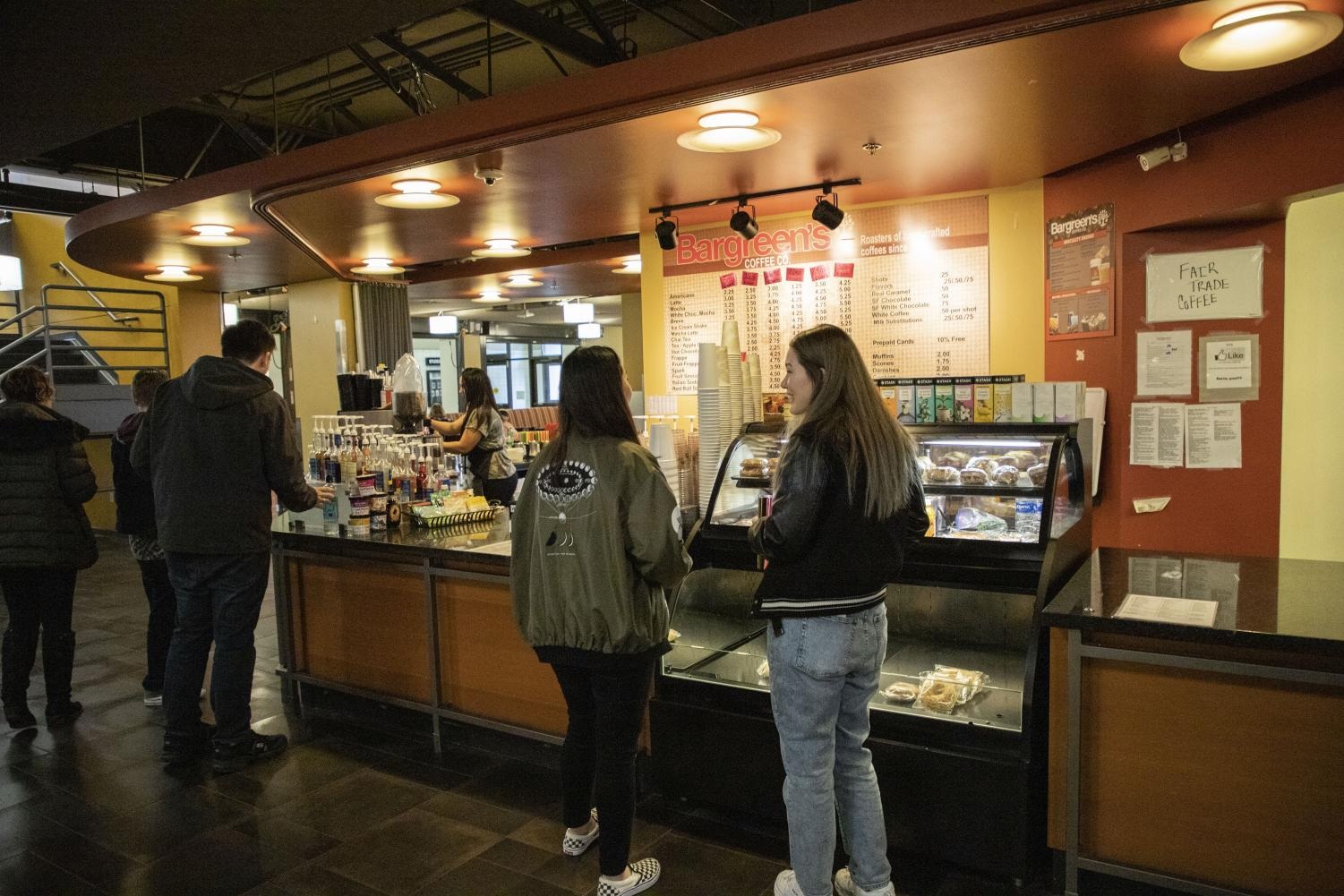 EvCC students wait in line to order from Bargreen's espresso stand located in Parks Student Union.