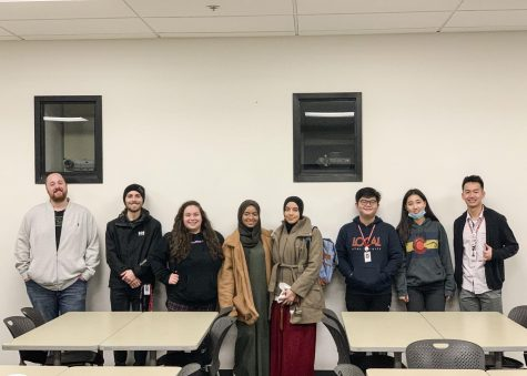 Members of BRIDGES cultural club meeting in Whitehorse Hall room 341 on Wednesday, Feb. 5. The goal of the club is to bridge cultures within the EvCC community.