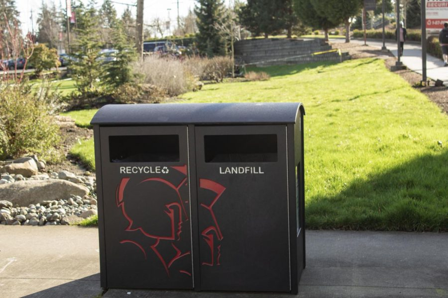 Recycle and landfill waste bins can be located throughout EvCC campus.