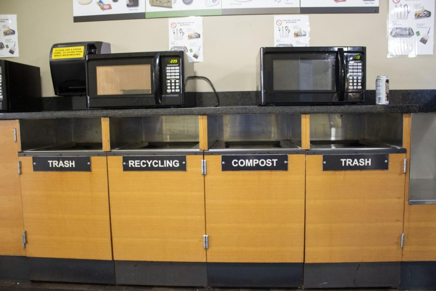 Multi-purpose waste station including trash, recycling, and compost bins located by the café in Parks Student Union.