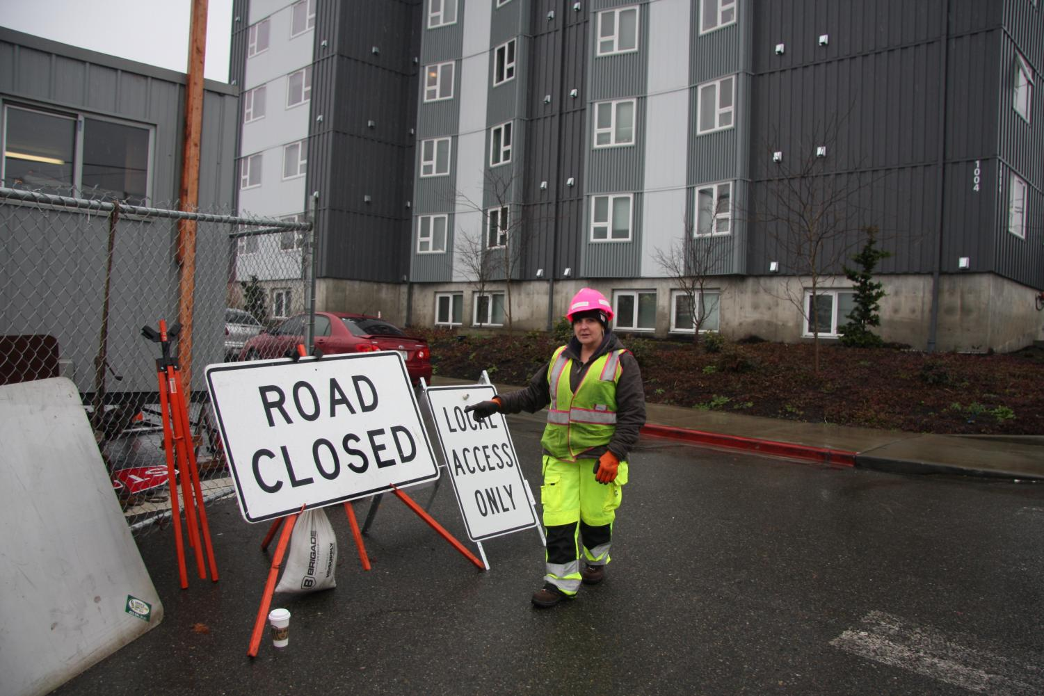 Construction worker, Carol Crane, describing the accident that occurred in front of the Mountain View dorms on Wednesday, Feb. 5.