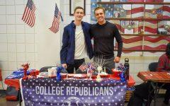 EvCC Republican Club President Josiah Reiser (left) and treasurer Sasha Phillips (right) at Winter Club Fest on Jan. 30.
