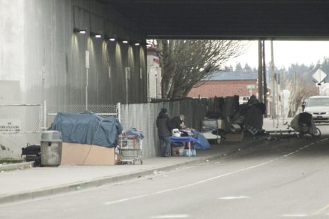 Homeless people in Everett, Washington camping under the bridge on Smith Ave.