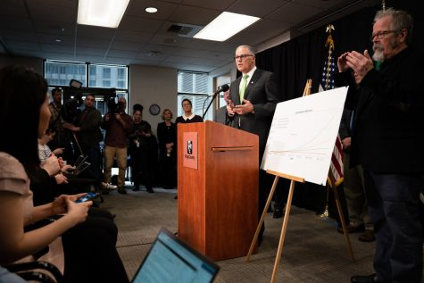 Washington State Governor Jay Inslee addresses the state on the COVID-19 outbreak on Mar. 11, 2020.