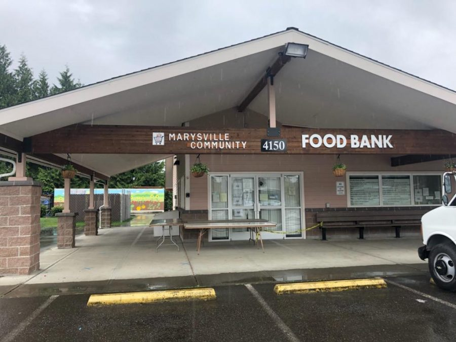 Marysville Food Bank, located at 4150 88th St NE, Marysville WA 98270. The location remains roped off even after hours in order to follow social distancing practices.