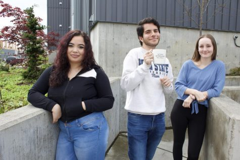 Some residents of EvCC student housing have stayed put during the COVID-19 pandemic. From left to right, Shawntel Martinez, Anselmo De Sousa, and Madison Lambert outside of Mountain View Hall on April 23, 2020.