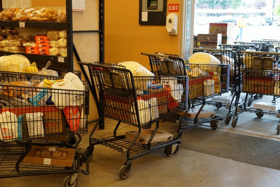 Marysville Food Bank grocery carts lined up for distribution.