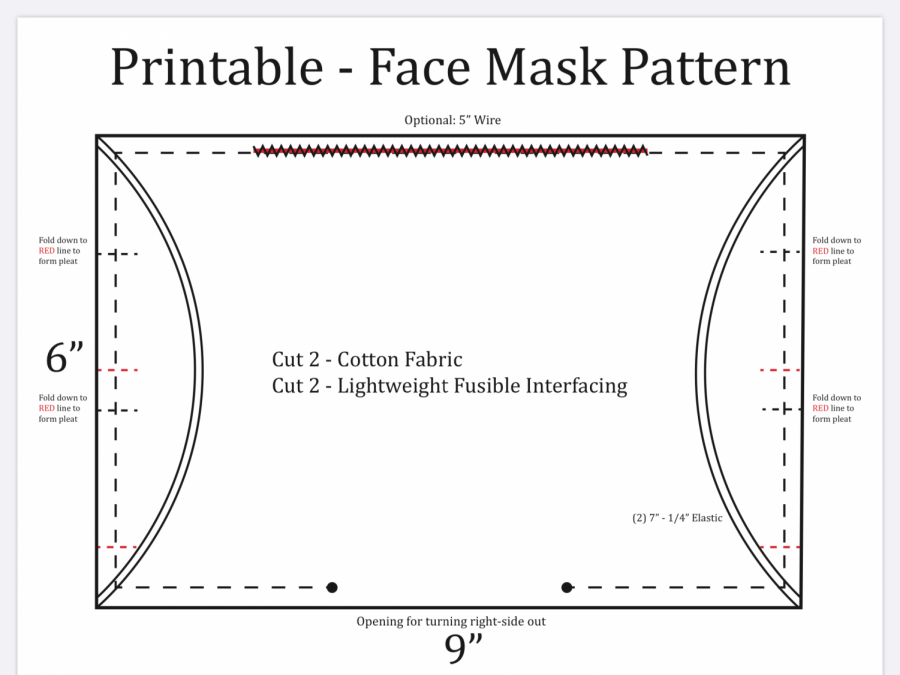 Printable sewing pattern provided by Masks for Arlington. Digital design by Jessica Kupcake.
