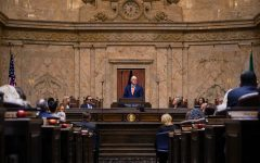 Washington State Gov. Jay Inslee signs new COVID-19 order to slowly reopen the state's economy. This photo was taken at the 2020 State of the State Address on Tuesday, Jan. 14, 2020 at the Washington State Capital Building in Olympia.