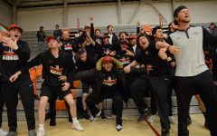 EvCC baseball players cheer on the EvCC basketball team from the sidelines at a game held in March of 2019.  On March 18, 2020, the Northwest Athletic Conference (NWAC) decided to immediately cancel all spring sports competitions.