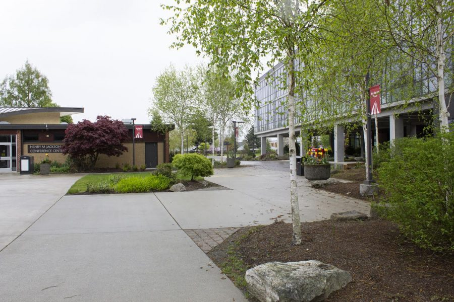 Empty EvCC campus on Apr. 27, 2020. In-person classes have been suspended since Mar. 5, 2020 to follow social distancing protocol  because of the COVID-19 pandemic.