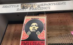 The abandoned Seattle Police Department East Precinct on Capitol Hill, defaced as the