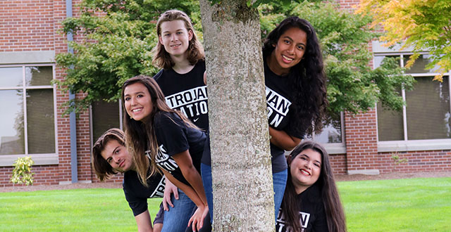 "ASB Executive Council (from left to right) Miquel Ruscha, Jesslin Ochoa, Luke Frost, Araceli Daza, Madison ""Maddie"" Gilbert. The ASB government helps with the executive council on campus and also oversees the senate board."