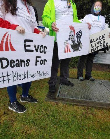 "Deans of EvCC were in attendance at the peaceful Black Lives Matter protest in downtown Everett on Jun. 6, 2020. They wore shirts and held signs that said ""EvCC Deans For #BlackLivesMatter""."