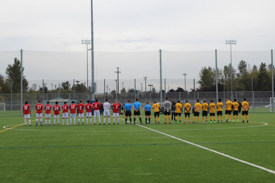 EvCC men's soccer team line up to begin a match against Shoreline in 2019. Players are looking forward to an extra year of eligibility to get back to playing soccer like they are used to.
