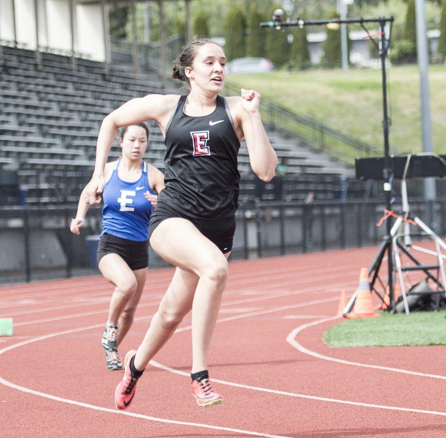 Sophomore Mona Kahsai running the 400m dash on May 8, 2021 at the NWAC Championships.