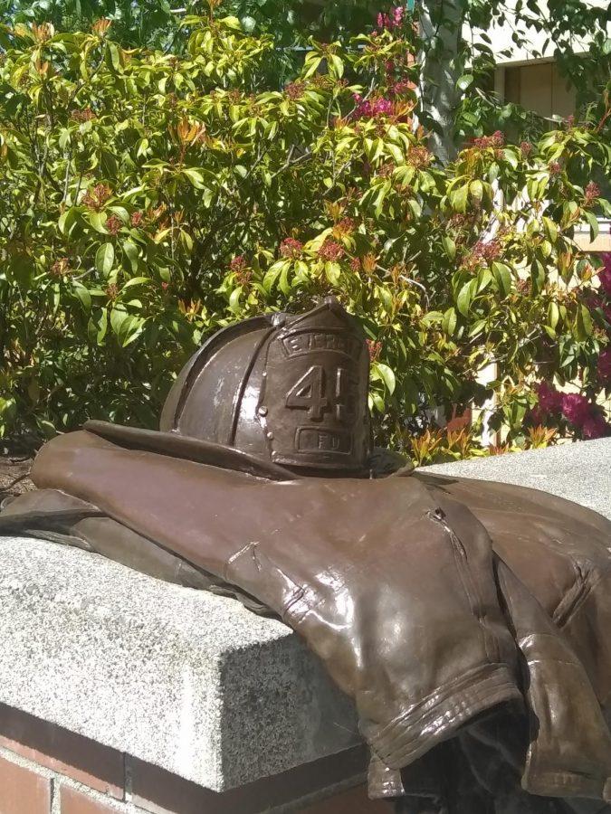 The Gary Parks firefighter memorial near EvCC