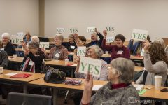 Voting YES! Members of the AAUW Edmonds SnoKing Branch gather in preparation for statewide Lobby Day. A day where members advocate for women focused legislation to Washington State's elected officials. Photo courtesy of Mary Ross, AAUW Edmonds SnoKing Branch member.