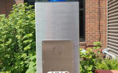 Code Blue Security assistance call box outside of the Parks Student Union.